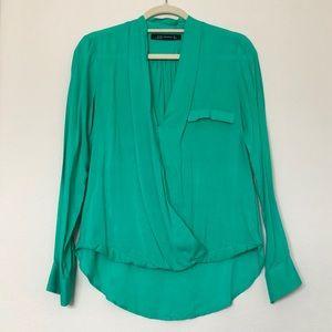 Zara Green High Low Faux Wrap Blouse